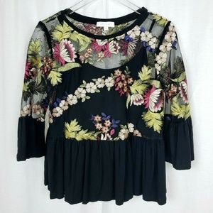 Eri + Ali Embroidered Floral Peplum Top